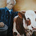 Boer Harm met koe,